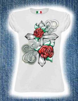 Maglietta Cotone Fiammato Da Donna Maniche Arricciate Titolo Rosa Fedele