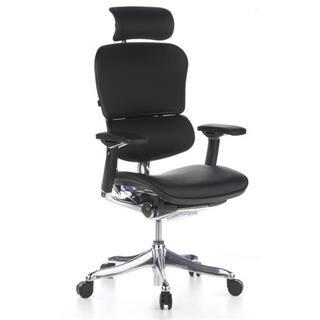 hjh sedia ergonomica ergoplus in vera pelle, 100% regolabile, grande qualità per il tuo benessere, con sostegno lombare, in color nero