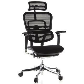 hjh sedia ergonomica ergoplus, 100% regolabile, con sostegno lombare, sedile in tessuto nero