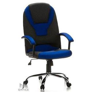 Hjh Sedia Gaming per PC CAMARO, colore grigio e blu, base cromata