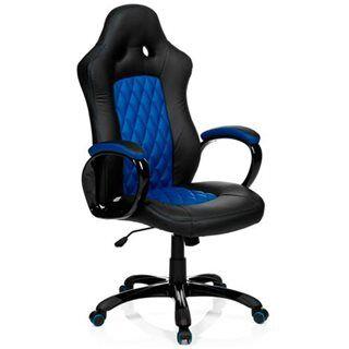 Hjh Sedia Gaming RACER EXECUTIVE, design sportivo, rivestimento in pelle, colori nero e blu