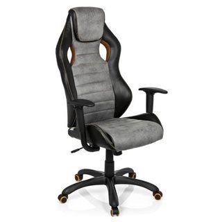 Hjh Sedia Gaming per ufficio DAKAR VINTAGE, design sportivo, omologata per 8 ore e rivestita in pelle invecchiata, in nero/grigio