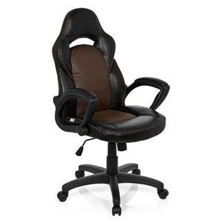 Hjh Sedia Gaming BRESCIA, design sportivo con spessa imbottitura ed elegante rivestimento in pelle, colore nero/marrone