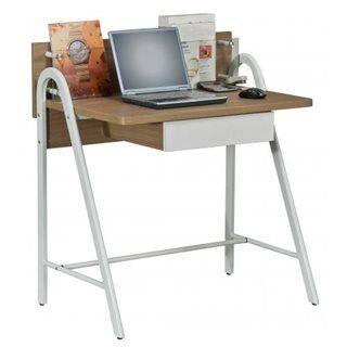 Hjh Scrivania per PC portatile GALILEO, con cassetto e scomparto in vetro, cm 93x84x56, legno e metallo