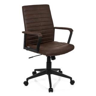 Hjh Sedia da ufficio TAVIRA, stile vintage, in pelle marrone
