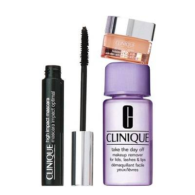 Clinique High Impact Mascara Black + All About Eyes 5 Ml + Make Up Remover 30 Ml