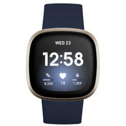 fitbit smartwatch versa 3 40mm alluminio oro con cinturino in silicone blu notte