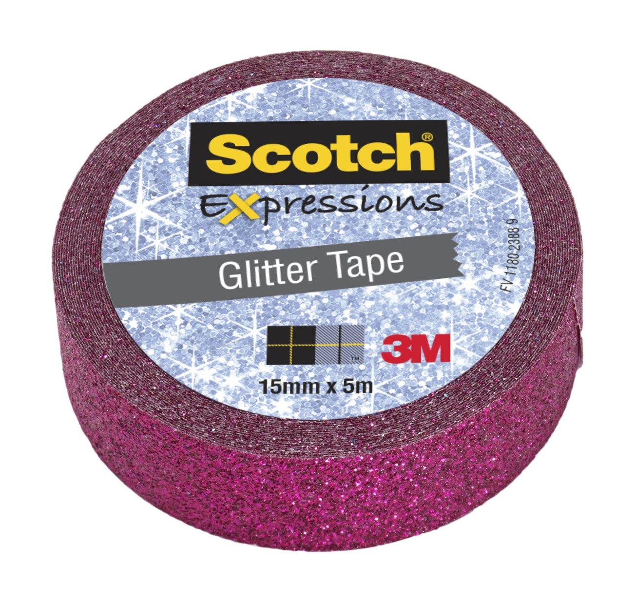 Nastro Decorativo Scotch Expressions. Glitter Fucsia. Rotolo Singolo