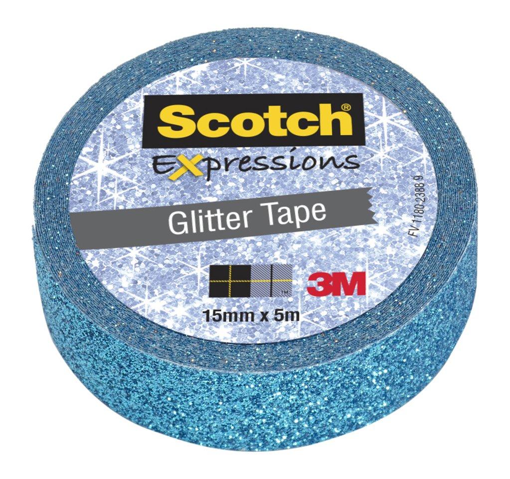 Nastro Decorativo Scotch Expressions Glitter Blu. Rotolo Singolo
