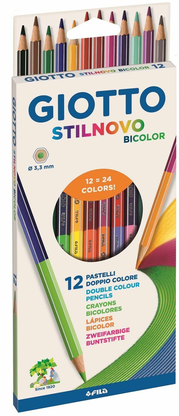 Pastelli Giotto Stilnovo Bicolor. Scatola 12 matite colorate, 24 colori