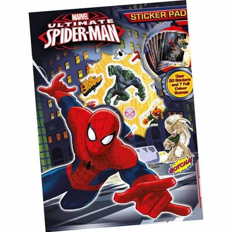 Stickers Set 30 Adesivi Spiderman Uomo Ragno 7 Scene Colorate Sticker Pad