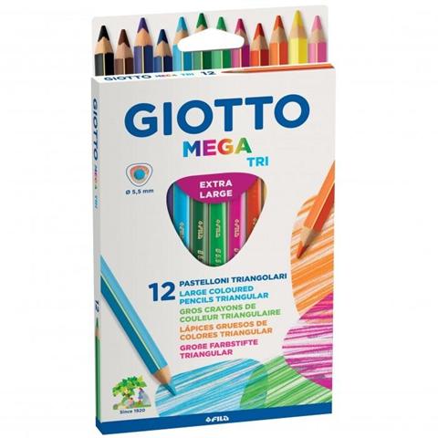 Pastelli Giotto Mega Tri. Scatola 12 matite colorate assortite