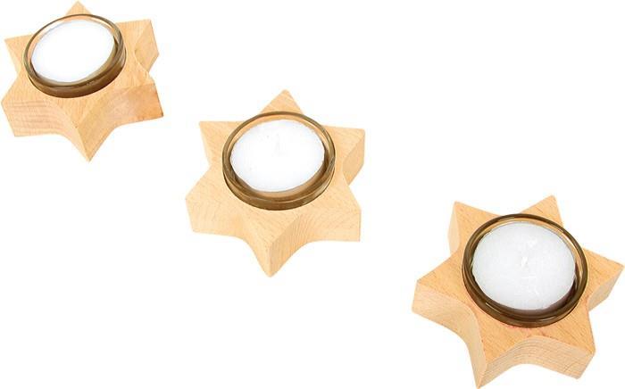 Porta lumini forma di stella in legno, decorazione natalizia. Set da 3