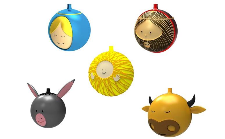 Set Di 5 Palle Per Albero Di Natale In Vetro Soffiato Decorate A Mano Alessi