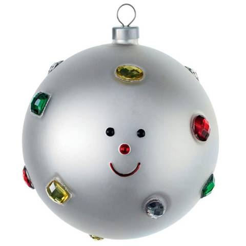 """Palla di Natale in vetro soffiato """"Fiocco di Neve"""" con magnete omaggio"""