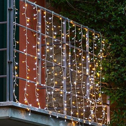 Tenda 3 x h 1 1 m 336 led bianco freddo e bianco caldo con memory controller cavo trasparente luci di natale tende luminose
