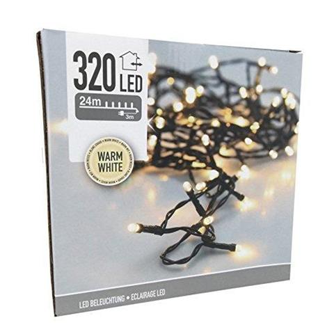 Luci Di Natale 320 Led Bianco Caldo Filo Trasparente Luce Fissa Addobbi Albero