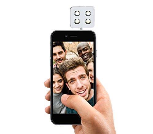 Mini flash 4 led per selfie compatibile con dispositivi Samsung e Apple - Bianco