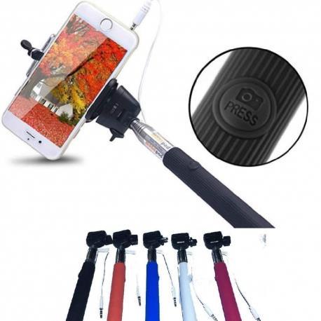 Selfie Monopiede telescopico con morsetto regolabile e bastone estensibile per Samsung, iPhone, HTC, Sony, Huawei