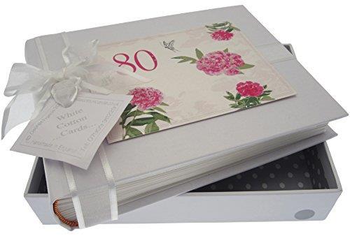 Scatola promemoria bianco Carte di cotone per il suo 80 ° compleanno, piccolo, album design Rose Inglesi