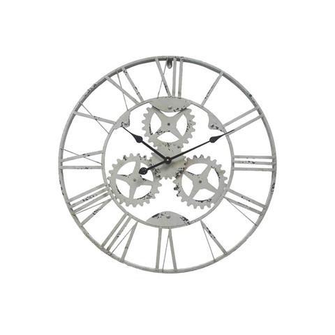 Orologio a Parete Metallo Ingranaggi Grigio Industrial Ø 70 cm