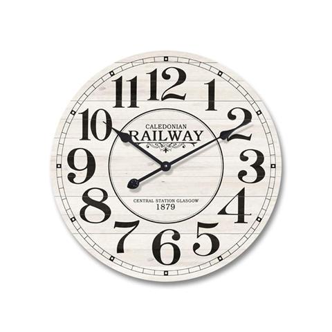 Orologio da Parete Legno Mdf Stile Retro Bianco Nero Rotondo