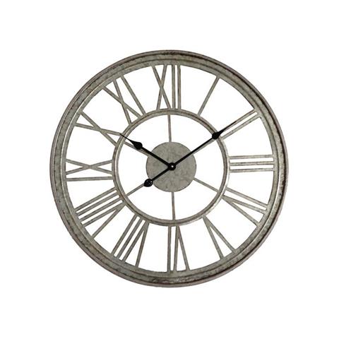 Orologio da Soggiorno Grigio Metallo Cifre Romane Retro Rotondo