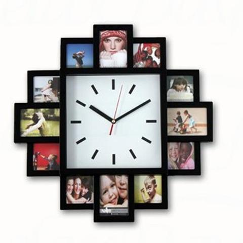 Orologio Da Parete Portafotografie Con Movimento Al Quarzo 40X40Cm