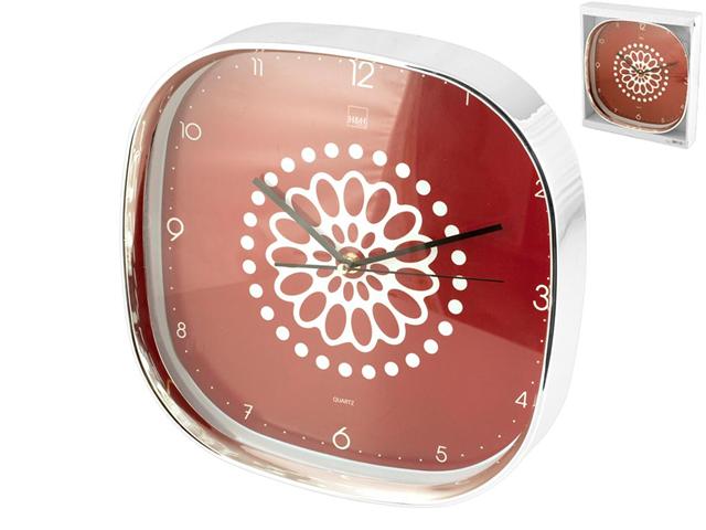 H&H; Orologio Parete Quadrato Decoro Ellen Rosso 30 Cm