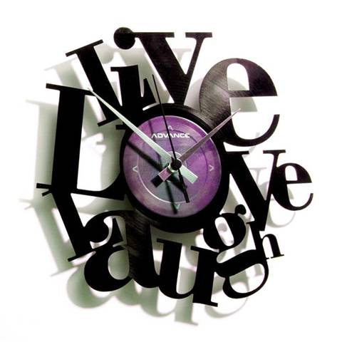Orologio da muro con disco in vinile LIVE LOVE LAUGH