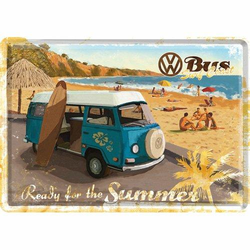 Cartolina metallica Metal Card VW Bulli - Ready for the Summer, 14x0x10 cm