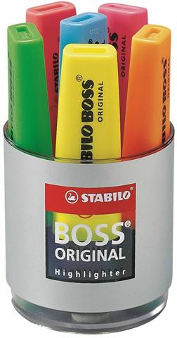 Boss Evidenziatore STABILO BOSS. Cilindro con 6 colori