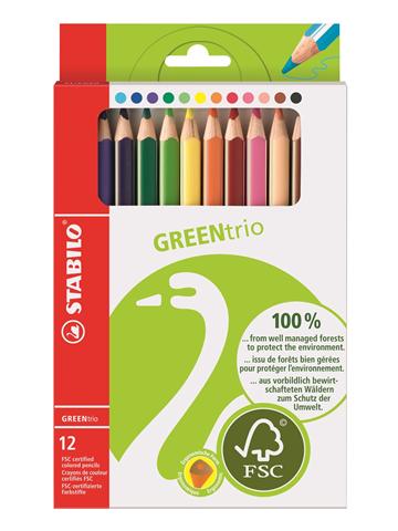 Pastelli STABILO GREENtrio. Scatola 12 matite colorate assortite
