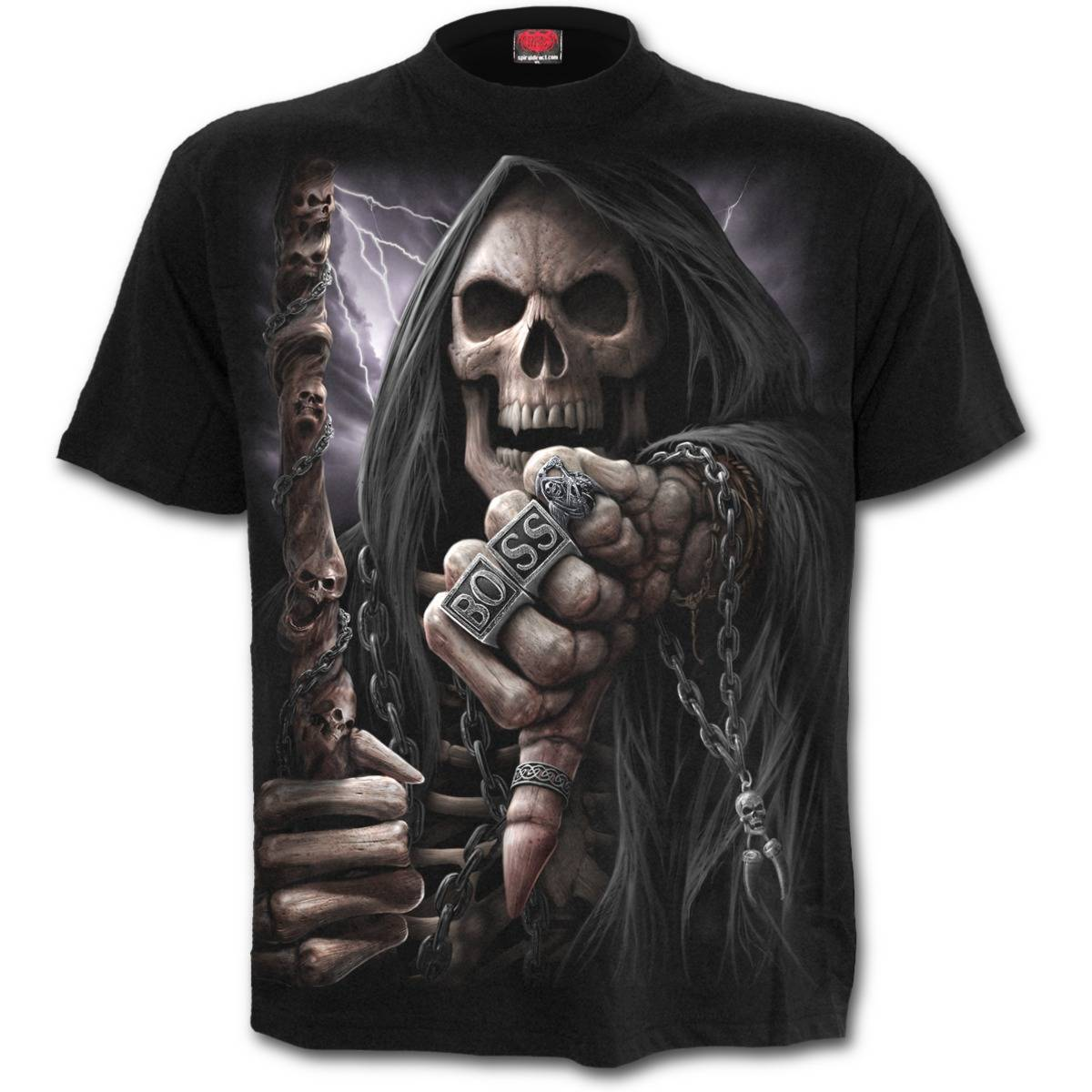 T-Shirt Unisex Tg. S Spiral. Boss Reaper. T-Shirt Black