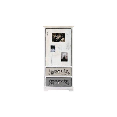Cassettiera Mobiletto FAMILY bianco Shabby Vintage con Foto Cameretta
