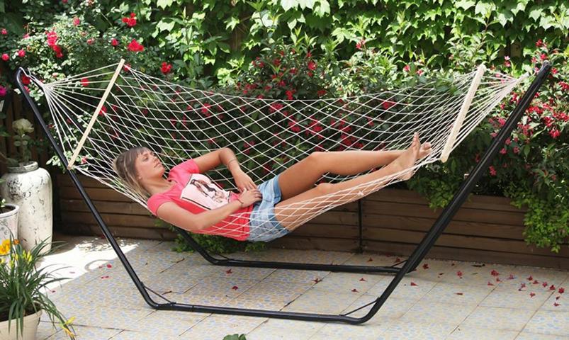Amaca a rete con asse in legno cm.80x200 arredo giardino esterno