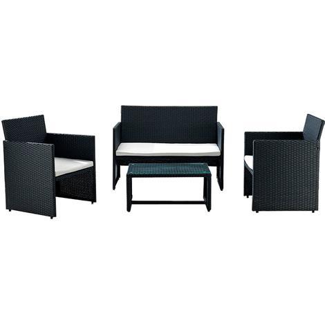 Biacchi Gianfranco Salotto wicker valenzia 2 poltrone + divano + tavolino con cuscini
