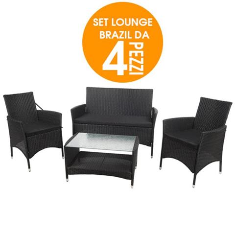 Lounge Set Brasil In Rattan Giardino 4 Pezzi Con Cuscini