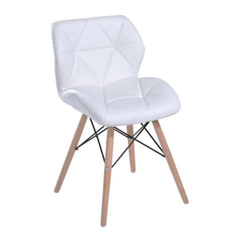 HomCom Sedia Moderna Design Imbottita Eames Style in Ecopelle Bianco