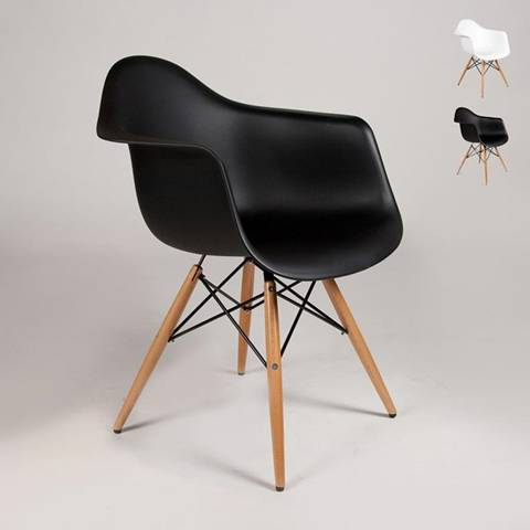 Sedia DAW Eames braccioli design dsw arm cucina bar sala attesa - Nero
