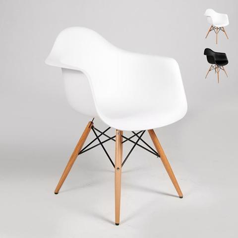 Sedia DAW Eames braccioli design dsw arm cucina bar sala attesa - Bianco