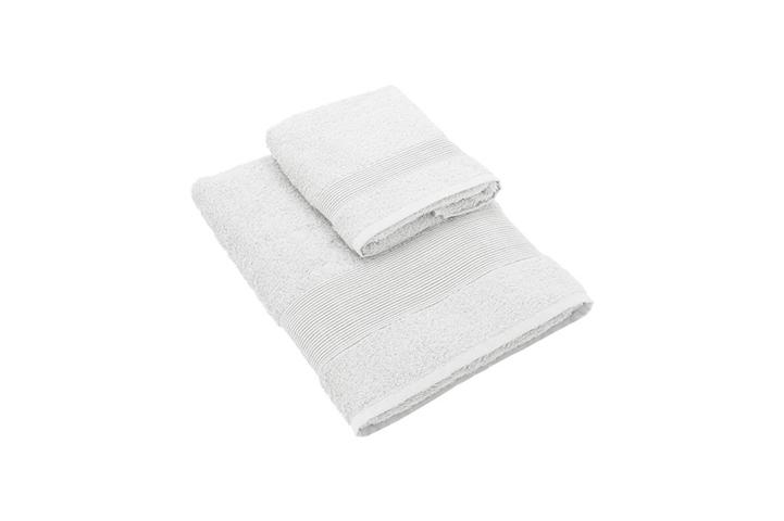 Set Asciugamano Con Ospite Cotone Bianco 60X110 Cm E 40X60 Cm Gabel