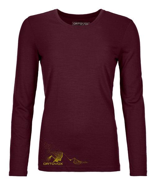 Ortovox 185 Merino Logo Spray LS W's - maglia manica lunga - donna - Dark Red