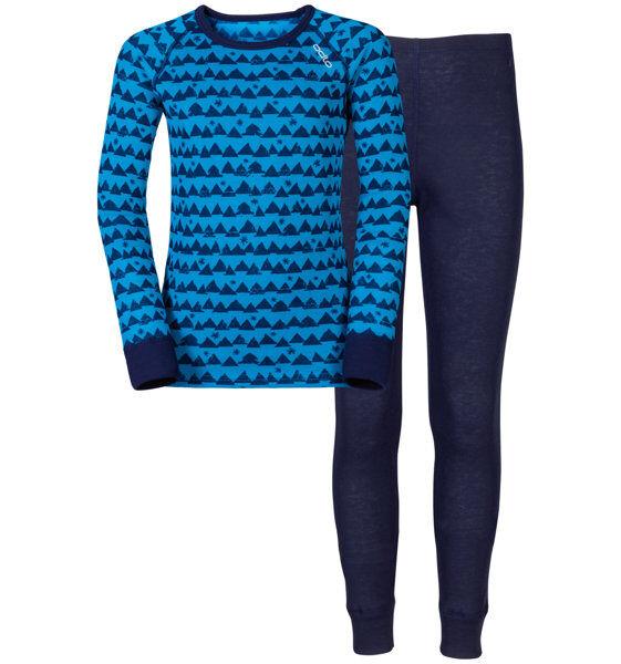 Odlo Warm - set intimo - bambino - Blue/Grey