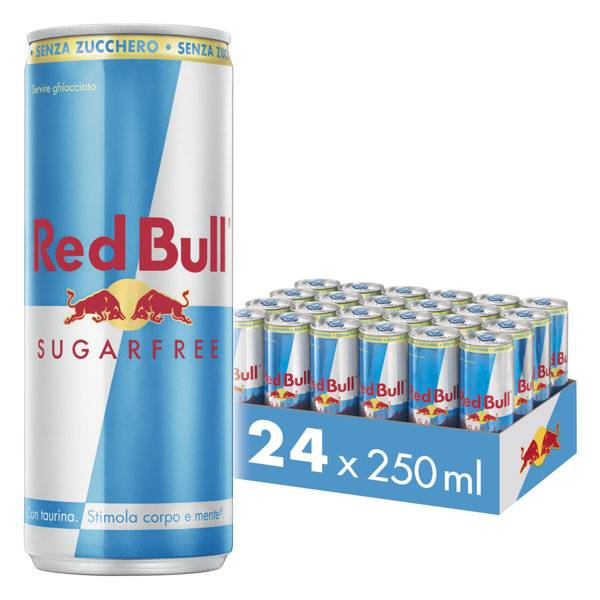 Bull Energy Drink Sugar Free 250 ml 24 Pack - bevanda energetica - Silver/Light Blue