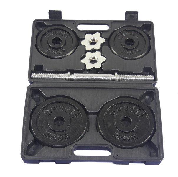 Get Fit 10 Kg Set + Plastic Box - set manubri fitness - Black/Chrome
