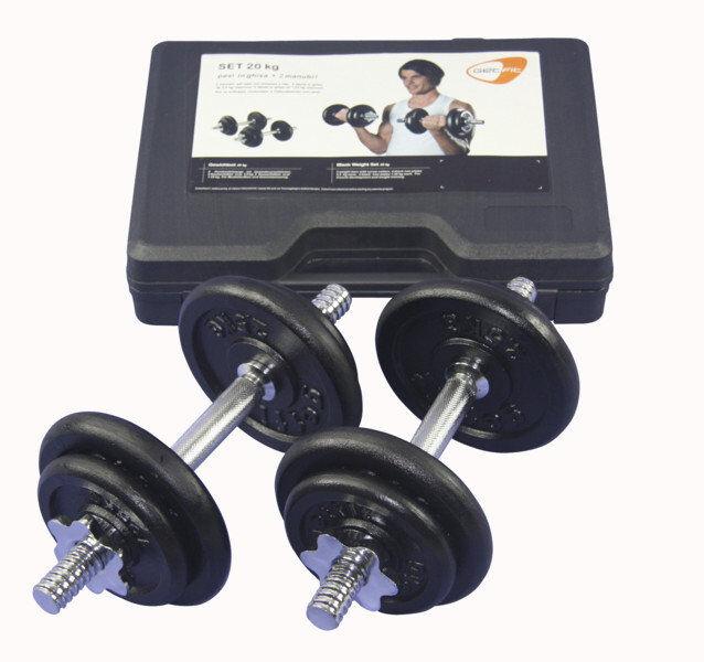 Get Fit 20 kg Weight Set + Plastic Box - manubri fitness - Grey/Black