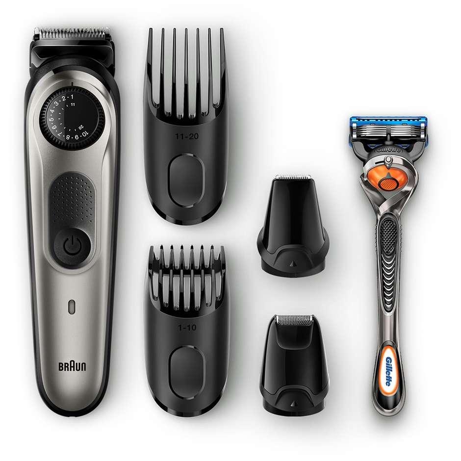 Braun Bt7020 Regolabarba Con 4 Accessori + Rasoio Gillette Fusion5 Proglide Colo