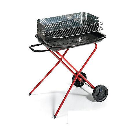 Ompagrill 65-50/r Eco Barbecue Con Carrello E Ruote Colore Nero, Rosso