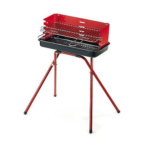 Ompagrill 80 Eco Barbecue In Acciaio Con Paravento E Braciere Colore Rosso